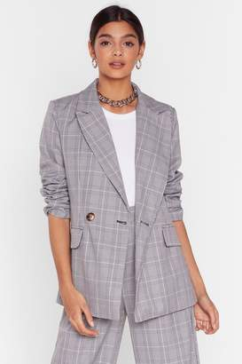 Nasty Gal Womens Grid It Your All Check Oversized Blazer - grey - 6