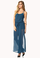 Forever 21 Enchanted Crepe Woven Jumpsuit w/ Sash