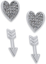 Vera Bradley 2-Pc. Set Pavé Heart and Arrow Stud Earrings
