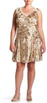 Marina Sleeveless Sequin Detail A Line Dress (Plus Size)