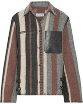 Loewe Leather-trimmed Striped Wool-blend Jacket - Gray