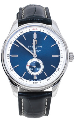 Breitling Blue Stainless Steel Croco Leather Premier A37340351C1P2 Men's Wristwatch 40 mm