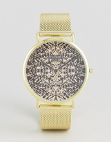 Reclaimed Vintage Inspired Print Mesh Watch In Gold