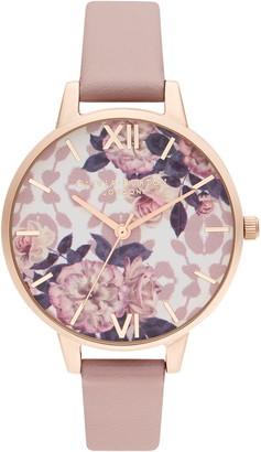 Olivia Burton Wild Flower Faux Leather Strap Watch, 34mm