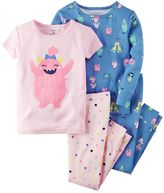 Carter's Baby Girl 4-pc. Graphic & Print Pajama Set