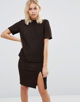 Vila Metallic Thread Short Sleeve Top
