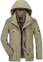 Chouyatou Men's Oversized Hooded Multipurpose Outdoor Raincoat Windbreaker Jacket