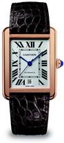 Cartier Tank Solo Extra-Large 18K Rose Gold & Black Alligator-Strap Watch