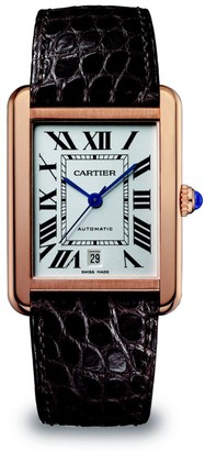 Cartier Tank Solo Extra-Large 18K Rose Gold & Black Alligator-Strap Watch