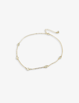 Ted Baker Honey zirconia and brass choker necklace