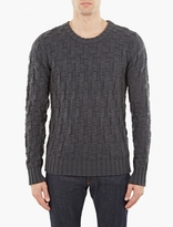 S.N.S. Herning Petrol Blue Digital Weave Sweater
