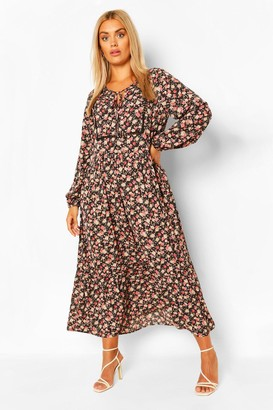 boohoo Plus Floral Smock Boho Maxi Dress