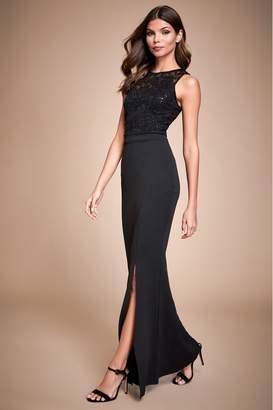 Lipsy Sequin Lace Top Maxi Dress - 10 - Black