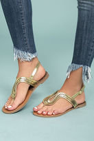 Qupid Libby Gold Thong Sandals