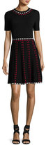 Shoshanna Thompson Short-Sleeve Knit Fit-and-Flare Dress