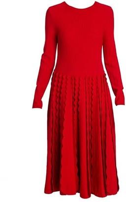 Valentino Knit Ruffle Godet Midi Dress