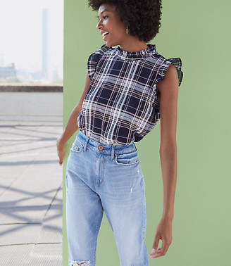 LOFT Plaid Ruffle Sleeve Shell