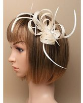 Inca Cream Fascinator on Headband/ Clip-in for Weddings, Races and Occasions-5903