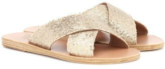 Ancient Greek Sandals Thais sequined leather slides
