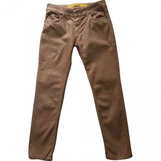 Ottod'ame Gold Cotton Trousers for Women