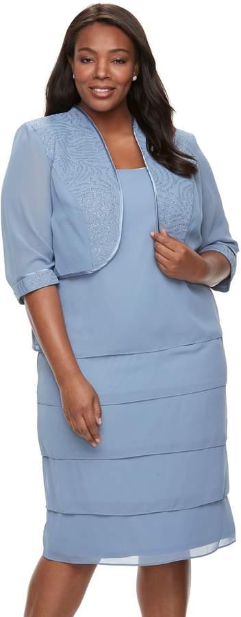 Plus Size Illusion-Panel Jacket & Tiered Dress
