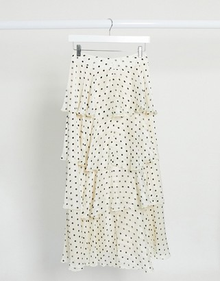 Y.A.S maxi skirt with tiered ruffles in cream spot