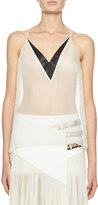 Lanvin Satin-Trim V-Neck Tank, White/Black