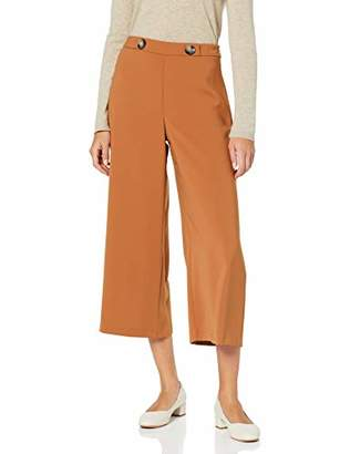 Dorothy Perkins Women's Crepe Crop Wide Leg Tan Trousers,(Size:)