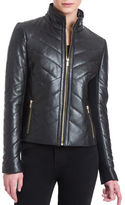Badgley Mischka Quilted High-Neck Leather Jacket