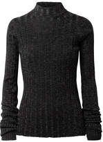 Theory Metallic Ribbed Merino Wool-blend Turtleneck Sweater - Black