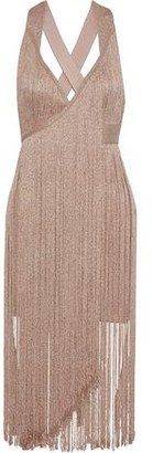 Herve Leger Fringed Metallic Bandage Midi Dress