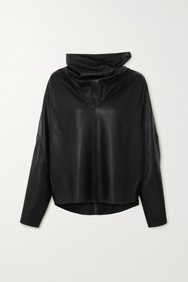 REMAIN Birger Christensen Sortie Paneled Leather Top - Black