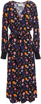 BA&SH Malny Belted Floral-print Crepe Midi Dress