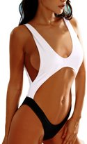 FunnnyRabbbit Women Hollow Fashion Thong One Piece Bikini Swimsuit Cut Out Monokini Swimwear