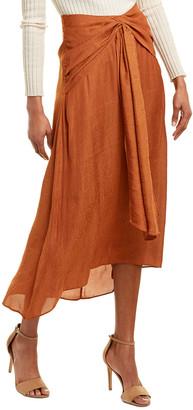 BCBGMAXAZRIA Draped Midi Skirt