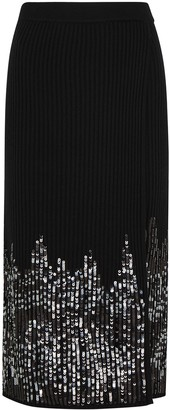 Jonathan Simkhai Black sequin-embellished midi skirt