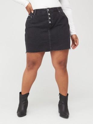 Calvin Klein Jeans Plus High Rise Denim Skirt - Dark Wash