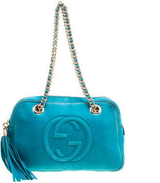 Gucci Blue Leather Medium Soho Chain Shoulder Bag