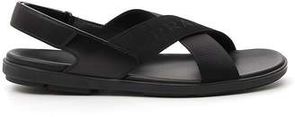 Prada Cross Strap Logo Embossed Sandals