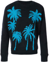 The Elder Statesman palm tree embroidered sweater