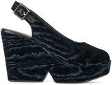 Robert Clergerie Dylan peep toe sandals - women - Leather/Velvet/rubber - 35.5