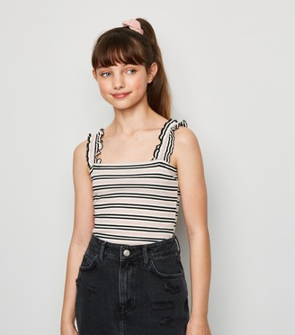 New Look Girls Stripe Ribbed Frill Cami