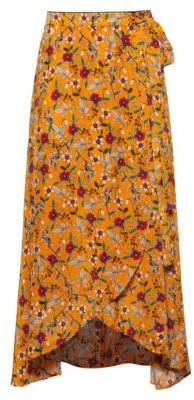 HUGO Floral-print midi wrap skirt with tie belt