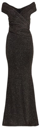 Talbot Runhof Lurex V-Neck Bodycon Gown