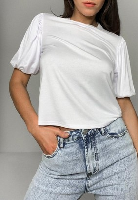 Missguided White Puff Sleeve T Shirt