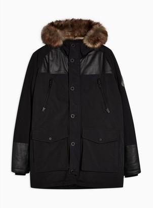 Topman Mens Black Parka Jacket With Faux Fur Hood