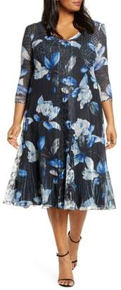Komarov Floral Print Center Front Lace Dress