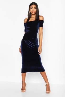boohoo Tall Off Shoulder Velvet Bodycon Dress