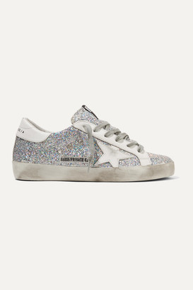 Golden Goose Superstar Distressed Glittered Leather Sneakers - Silver