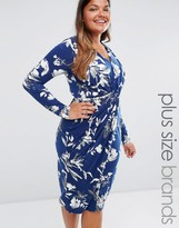 Club L Plus Jersey Midi Dress With Knot Front In Floral Print